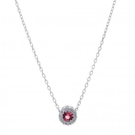 Σετ κοσμημάτων Prince Silvero (κολιέ, σκουλαρίκια και δαχτυλίδι) από επιπλατινωμένο ασήμι 925ο με ημιπολύτιμες πέτρες (ζιργκόν). JD-SE170R-SET κολιέ μέρος του σετ