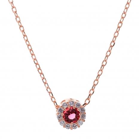 Σετ κοσμημάτων Prince Silvero (κολιέ, σκουλαρίκια και δαχτυλίδι) από ροζ επιχρυσωμένο ασήμι 925ο με ημιπολύτιμες πέτρες (ζιργκόν). JD-SE170R-R-SET κολιέ μέρος του σετ