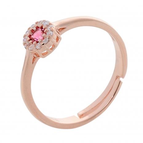 Σετ κοσμημάτων Prince Silvero (κολιέ, σκουλαρίκια και δαχτυλίδι) από ροζ επιχρυσωμένο ασήμι 925ο με ημιπολύτιμες πέτρες (ζιργκόν). JD-SE170R-R-SET δαχτυλίδι μέρος του σετ