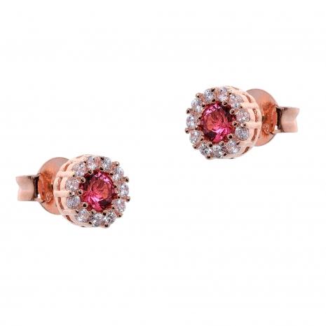 Σετ κοσμημάτων Prince Silvero (κολιέ, σκουλαρίκια και δαχτυλίδι) από ροζ επιχρυσωμένο ασήμι 925ο με ημιπολύτιμες πέτρες (ζιργκόν). JD-SE170R-R-SET σκουλαρίκια μέρος του σετ