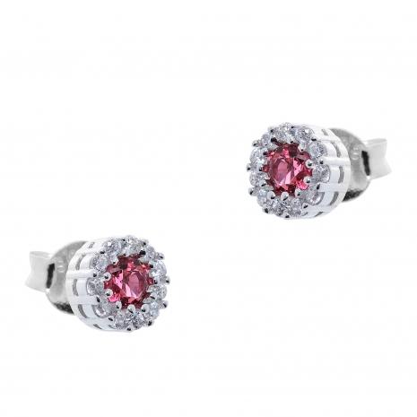 Σετ κοσμημάτων Prince Silvero (κολιέ, σκουλαρίκια και δαχτυλίδι) από επιπλατινωμένο ασήμι 925ο με ημιπολύτιμες πέτρες (ζιργκόν). JD-SE170R-SET σκουλαρίκια μέρος του σετ