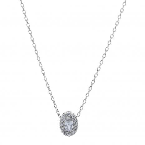 Σετ κοσμημάτων Prince Silvero (κολιέ, σκουλαρίκια και δαχτυλίδι) από επιπλατινωμένο ασήμι 925ο με ημιπολύτιμες πέτρες (ζιργκόν). JD-SE171-SET κολιέ μέρος του σετ