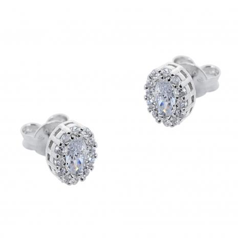Σετ κοσμημάτων Prince Silvero (κολιέ, σκουλαρίκια και δαχτυλίδι) από επιπλατινωμένο ασήμι 925ο με ημιπολύτιμες πέτρες (ζιργκόν). JD-SE171-SET σκουλαρίκια μέρος του σετ