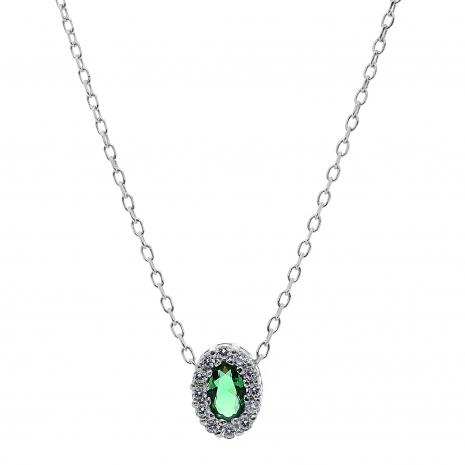 Σετ κοσμημάτων Prince Silvero (κολιέ, σκουλαρίκια και δαχτυλίδι) από επιπλατινωμένο ασήμι 925ο με ημιπολύτιμες πέτρες (ζιργκόν). JD-SE171G-SET κολιέ μέρος του σετ