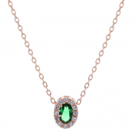 Σετ κοσμημάτων Prince Silvero (κολιέ, σκουλαρίκια και δαχτυλίδι) από ροζ επιχρυσωμένο ασήμι 925ο με ημιπολύτιμες πέτρες (ζιργκόν). JD-SE171G-R-SET κολιέ μέρος του σετ