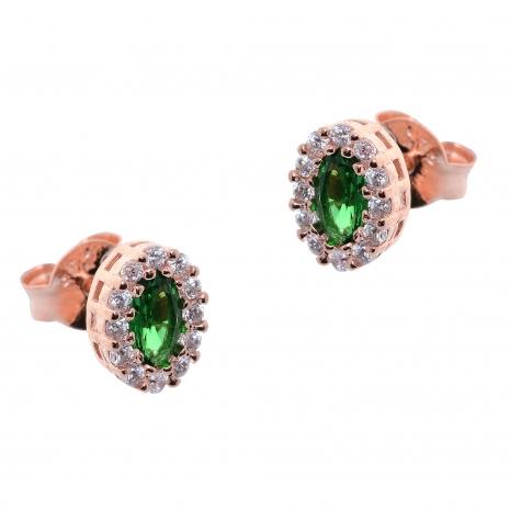 Σετ κοσμημάτων Prince Silvero (κολιέ, σκουλαρίκια και δαχτυλίδι) από ροζ επιχρυσωμένο ασήμι 925ο με ημιπολύτιμες πέτρες (ζιργκόν). JD-SE171G-R-SET σκουλαρίκια μέρος του σετ
