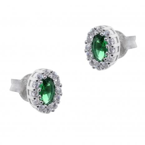 Σετ κοσμημάτων Prince Silvero (κολιέ, σκουλαρίκια και δαχτυλίδι) από επιπλατινωμένο ασήμι 925ο με ημιπολύτιμες πέτρες (ζιργκόν). JD-SE171G-SET σκουλαρίκια μέρος του σετ