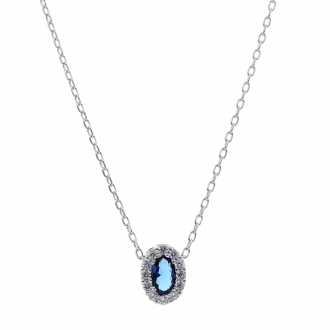 Σετ κοσμημάτων Prince Silvero (κολιέ, σκουλαρίκια και δαχτυλίδι) από επιπλατινωμένο ασήμι 925ο με ημιπολύτιμες πέτρες (ζιργκόν). JD-SE171M-SET κολιέ μέρος του σετ