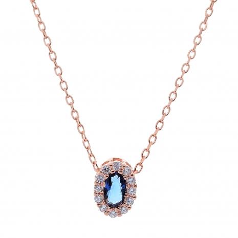Σετ κοσμημάτων Prince Silvero (κολιέ, σκουλαρίκια και δαχτυλίδι) από ροζ επιχρυσωμένο ασήμι 925ο με ημιπολύτιμες πέτρες (ζιργκόν). JD-SE171M-R-SET κολιέ μέρος του σετ