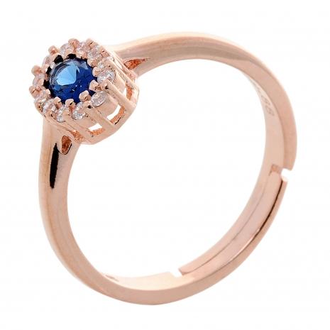 Σετ κοσμημάτων Prince Silvero (κολιέ, σκουλαρίκια και δαχτυλίδι) από ροζ επιχρυσωμένο ασήμι 925ο με ημιπολύτιμες πέτρες (ζιργκόν). JD-SE171M-R-SET δαχτυλίδι μέρος του σετ