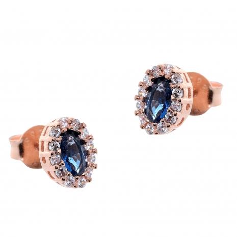 Σετ κοσμημάτων Prince Silvero (κολιέ, σκουλαρίκια και δαχτυλίδι) από ροζ επιχρυσωμένο ασήμι 925ο με ημιπολύτιμες πέτρες (ζιργκόν). JD-SE171M-R-SET σκουλαρίκια μέρος του σετ