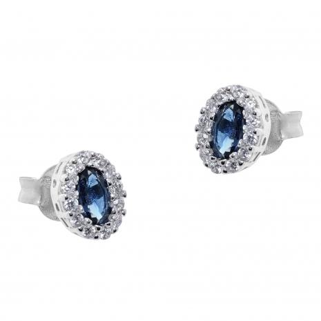 Σετ κοσμημάτων Prince Silvero (κολιέ, σκουλαρίκια και δαχτυλίδι) από επιπλατινωμένο ασήμι 925ο με ημιπολύτιμες πέτρες (ζιργκόν). JD-SE171M-SET σκουλαρίκια μέρος του σετ