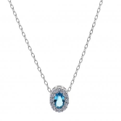 Σετ κοσμημάτων Prince Silvero (κολιέ, σκουλαρίκια και δαχτυλίδι) από επιπλατινωμένο ασήμι 925ο με ημιπολύτιμες πέτρες (ζιργκόν). JD-SE171Q-SET κολιέ μέρος του σετ
