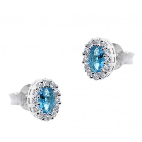 Σετ κοσμημάτων Prince Silvero (κολιέ, σκουλαρίκια και δαχτυλίδι) από επιπλατινωμένο ασήμι 925ο με ημιπολύτιμες πέτρες (ζιργκόν). JD-SE171Q-SET σκουλαρίκια μέρος του σετ
