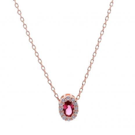 Σετ κοσμημάτων Prince Silvero (κολιέ, σκουλαρίκια και δαχτυλίδι) από ροζ επιχρυσωμένο ασήμι 925ο με ημιπολύτιμες πέτρες (ζιργκόν). JD-SE171R-R-SET κολιέ μέρος του σετ