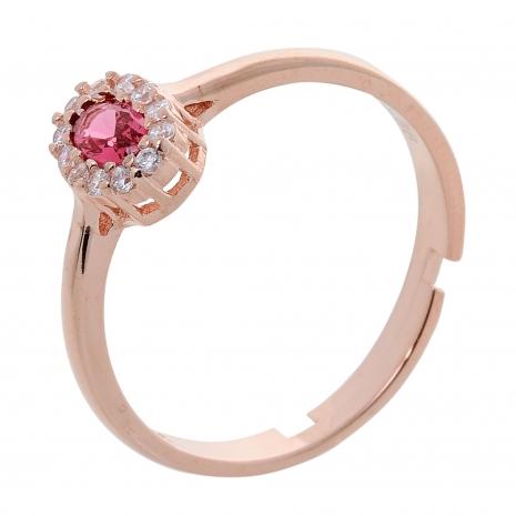 Σετ κοσμημάτων Prince Silvero (κολιέ, σκουλαρίκια και δαχτυλίδι) από ροζ επιχρυσωμένο ασήμι 925ο με ημιπολύτιμες πέτρες (ζιργκόν). JD-SE171R-R-SET δαχτυλίδι μέρος του σετ
