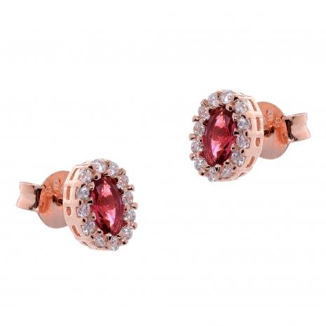Σετ κοσμημάτων Prince Silvero (κολιέ, σκουλαρίκια και δαχτυλίδι) από ροζ επιχρυσωμένο ασήμι 925ο με ημιπολύτιμες πέτρες (ζιργκόν). JD-SE171R-R-SET σκουλαρίκια μέρος του σετ