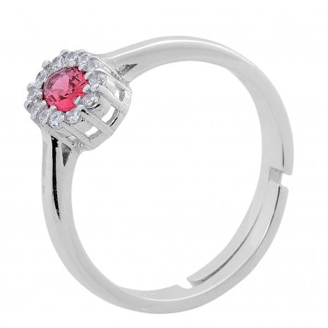 Σετ κοσμημάτων Prince Silvero (κολιέ, σκουλαρίκια και δαχτυλίδι) από επιπλατινωμένο ασήμι 925ο με ημιπολύτιμες πέτρες (ζιργκόν). JD-SE171R-SET δαχτυλίδι μέρος του σετ