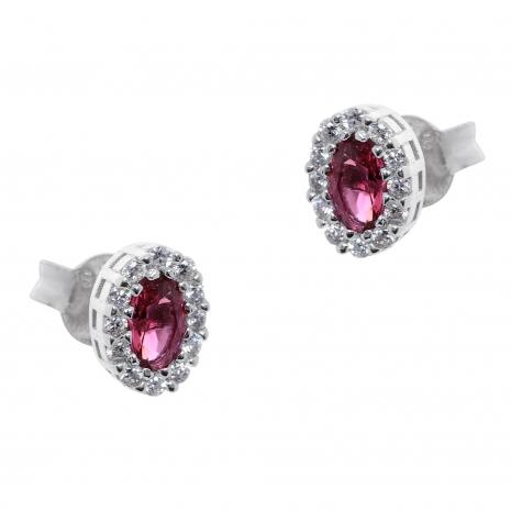 Σετ κοσμημάτων Prince Silvero (κολιέ, σκουλαρίκια και δαχτυλίδι) από επιπλατινωμένο ασήμι 925ο με ημιπολύτιμες πέτρες (ζιργκόν). JD-SE171R-SET σκουλαρίκια μέρος του σετ