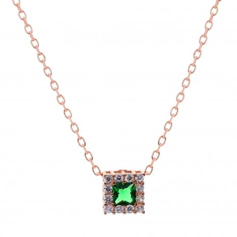 Σετ κοσμημάτων Prince Silvero (κολιέ, σκουλαρίκια και δαχτυλίδι) από ροζ επιχρυσωμένο ασήμι 925ο με ημιπολύτιμες πέτρες (ζιργκόν). JD-SE172G-R-SET κολιέ μέρος του σετ