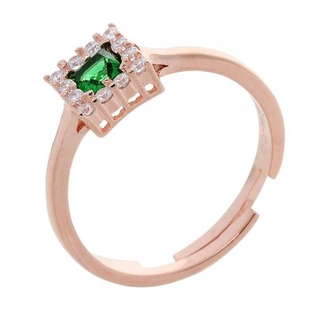 Σετ κοσμημάτων Prince Silvero (κολιέ, σκουλαρίκια και δαχτυλίδι) από ροζ επιχρυσωμένο ασήμι 925ο με ημιπολύτιμες πέτρες (ζιργκόν). JD-SE172G-R-SET δαχτυλίδι μέρος του σετ