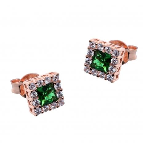 Σετ κοσμημάτων Prince Silvero (κολιέ, σκουλαρίκια και δαχτυλίδι) από ροζ επιχρυσωμένο ασήμι 925ο με ημιπολύτιμες πέτρες (ζιργκόν). JD-SE172G-R-SET σκουλαρίκια μέρος του σετ