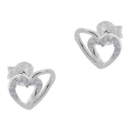 Σετ κοσμημάτων Prince Silvero (μενταγιόν και σκουλαρίκια καρδιά) από επιπλατινωμένο ασήμι 925ο με ημιπολύτιμες πέτρες (ζιργκόν). YF-SE002-SET σκουλαρίκια μέρος του σετ