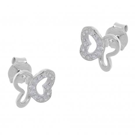 Σετ κοσμημάτων Prince Silvero (μενταγιόν και σκουλαρίκια πεταλούδα) από επιπλατινωμένο ασήμι 925ο με ημιπολύτιμες πέτρες (ζιργκόν). YF-SE004-SET σκουλαρίκια μέρος του σετ