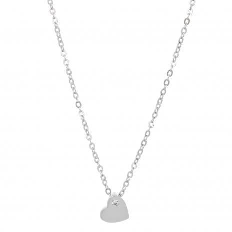Κολιέ Prince Silvero (καρδιά) από επιπλατινωμένο ασήμι 925ο με ημιπολύτιμες πέτρες (ζιργκόν). CQ-KD125 εικόνα 2