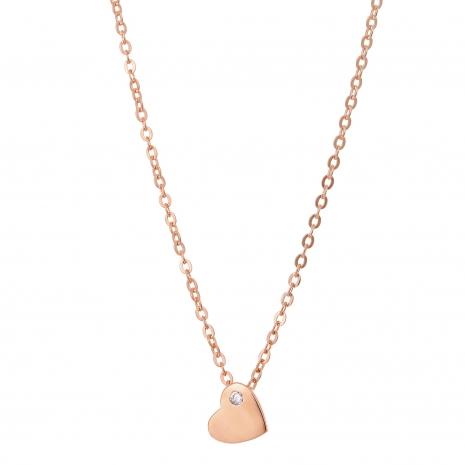 Κολιέ Prince Silvero (καρδιά) από ροζ επιχρυσωμένο ασήμι 925ο με ημιπολύτιμες πέτρες (ζιργκόν). CQ-KD125-R εικόνα 2