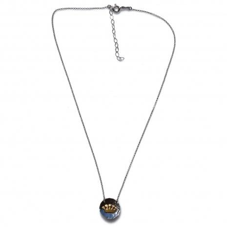 Χειροποίητο κολιέ Eight-Necklace-NK-00389 κορώνα από ροδιωμένο και επιχρυσωμένο ασήμι 925ο με ημιπολύτιμες πέτρες (ζιργκόν) Full