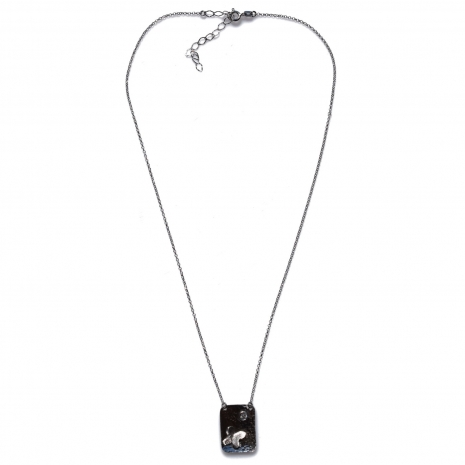Χειροποίητο κολιέ Eight-Necklace-NK-00392 πεταλούδα από ροδιωμένο ασήμι 925ο με ημιπολύτιμες πέτρες (ζιργκόν) Full