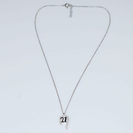 Εύρημα χειροποίητο κολιέ γούρι 2021 πέταλο από επιπλατινωμένο ασήμι 925ο με ημιπολύτιμες πέτρες (ζιργκόν) MA-2021-01