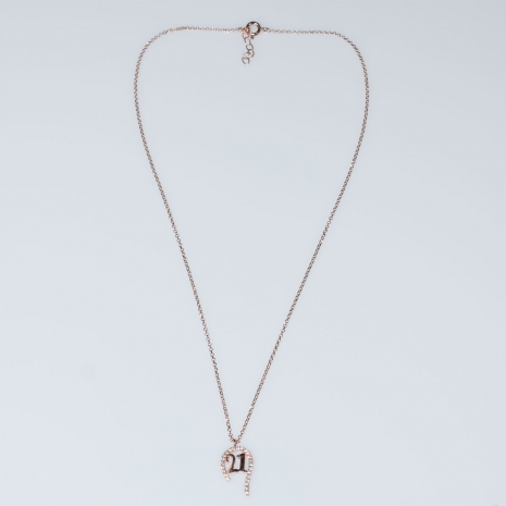 Evrima handmade sterling silver necklace charm 2021 lucky horseshoe with rose gold plating and semi precious stones (zirconia) MA-2021-02