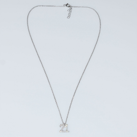 Evrima handmade sterling silver necklace charm 2021 with platinum plating and semi precious stones (zirconia) MA-2021-05