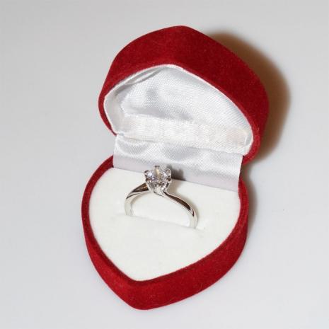 Χειροποίητο δαχτυλίδι μονόπετρο από επιπλατινωμένο ασήμι 925ο με ημιπολύτιμες πέτρες (ζιργκόν) IJ-010478-S στο κουτί συσκευασίας