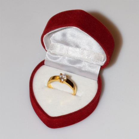 Χειροποίητο δαχτυλίδι μονόπετρο από επιχρυσωμένο ασήμι 925ο με ημιπολύτιμες πέτρες (ζιργκόν) IJ-010480-G στο κουτί συσκευασίας