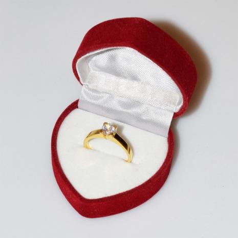 Χειροποίητο δαχτυλίδι μονόπετρο από επιχρυσωμένο ασήμι 925ο με ημιπολύτιμες πέτρες (ζιργκόν) IJ-010481-G στο κουτί συσκευασίας