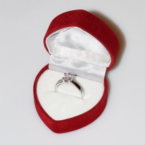 Χειροποίητο δαχτυλίδι μονόπετρο από επιπλατινωμένο ασήμι 925ο με ημιπολύτιμες πέτρες (ζιργκόν) IJ-010481-S στο κουτί συσκευασίας