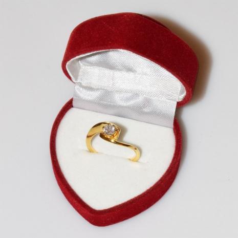 Χειροποίητο δαχτυλίδι μονόπετρο από επιχρυσωμένο ασήμι 925ο με ημιπολύτιμες πέτρες (ζιργκόν) IJ-010483-G στο κουτί συσκευασίας