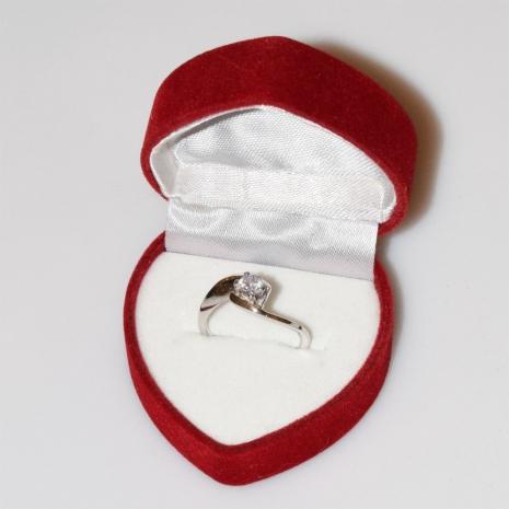 Χειροποίητο δαχτυλίδι μονόπετρο από επιπλατινωμένο ασήμι 925ο με ημιπολύτιμες πέτρες (ζιργκόν) IJ-010483-S στο κουτί συσκευασίας
